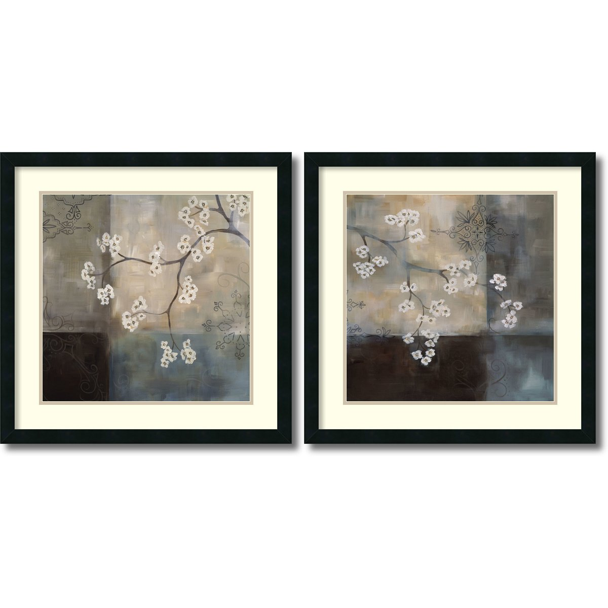 Framed Art Print, 'Spa Blossom, Large- set of 2' by Laurie Maitland: Outer Size 25 x 25'' Each