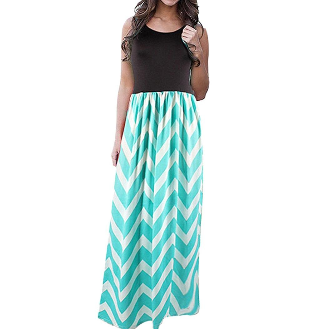 Women Plus Size Boho Stripe Wave Long Tank Dress Beach Summer Midi Maxi Sundress(Green ,X-Large)