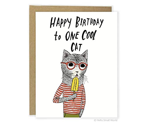 Birthday Cats Happy Birthday Card Greetings Card with White Envelope
