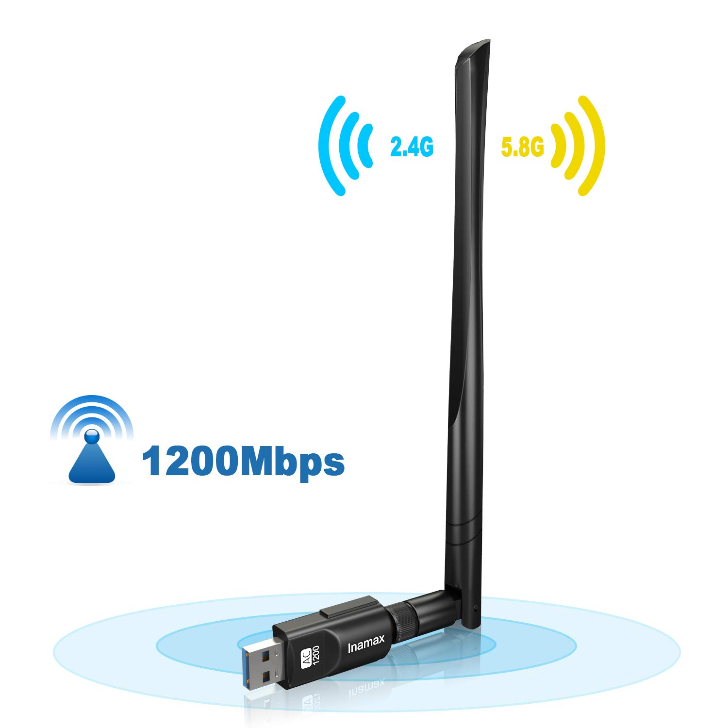 Inamax USB WiFi Adapter 1200Mbps, USB 3.0 Wireless Network WiFi Dongle with 5dBi Antenna for PC/Desktop/Laptop/Mac, Dual Band 2.4G/5G 802.11ac,Support Windows 10/8/8.1/7/Vista/XP, Mac10.5-10.14 by Inamax