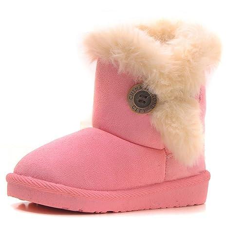 Juleya Scarpe invernali per bambini Ragazzi Ragazze Stivali da caviglia  nera antivento Stivali da pelliccia per 537b39d3473