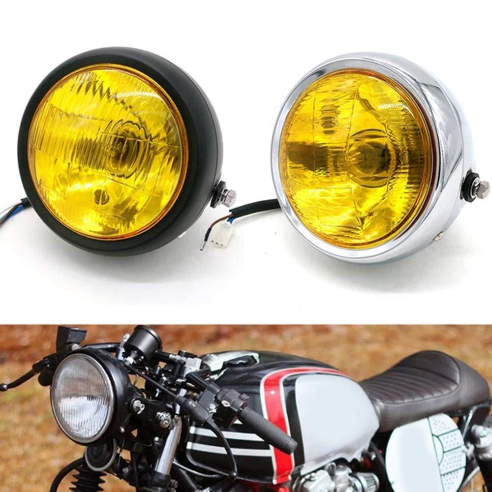 Moligh doll New Motorcycle Black Metal Retro E4 Halogen Front Headlight for Cg125 Gn125 Cafe Racer Bobber Custom Black+Silver
