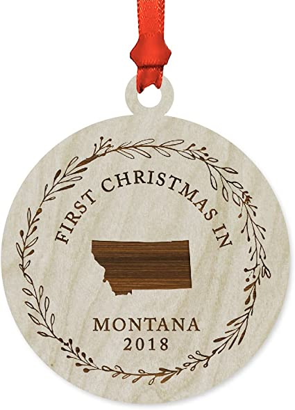 Amazon Com Andaz Press Custom Year Laser Engraved Wood Us State Round Christmas Ornament First Christmas In Montana 2020 1 Pack Includes Ribbon And Gift Bag Custom Name Kitchen Dining