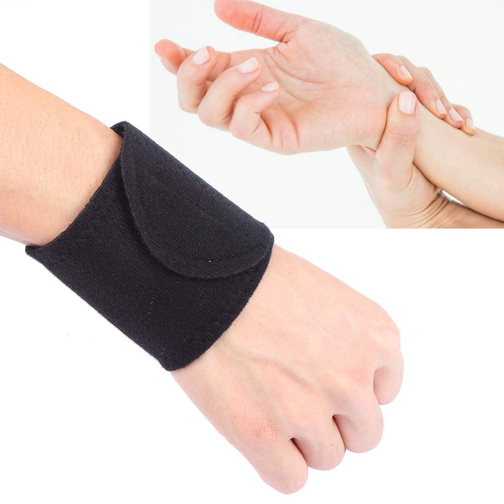 Wrist Brace Support Self-Heating Wrist Belt Strap Health Care Sports Sprains Fixed Warming Wristguards for Women and Men(Black)