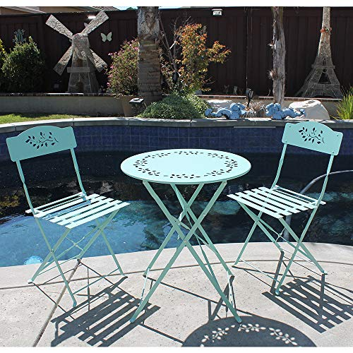OC Orange-Casual 3-Piece Floral Bistro Set, Steel Folding Dining Table and Chairs Garden Backyard Outdoor Furniture Set, Decorative Design-Turquoise (Dining Bistro)