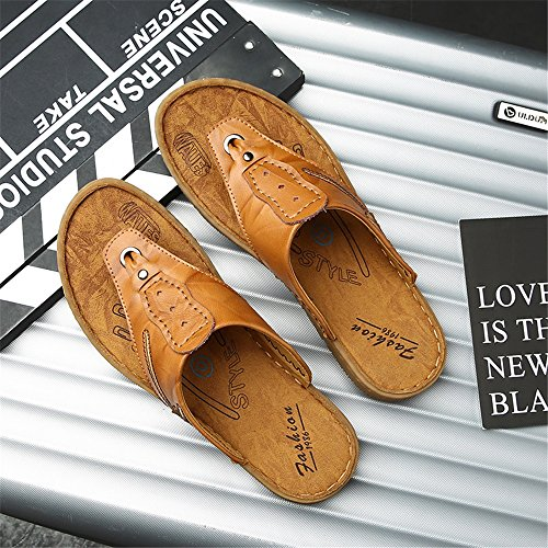 Slippers Thong Shoes,Casual Beach Ruiyue Genuine Slip Sandals Flops Leather Flip Flat Outdoor Soft for Indoor amp; Brown Non Men 0Rddqwf