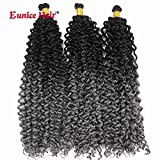 6 Packs 14 Inch Eunice Water Deep Crochet Braids Hair Extension Ombre Gray Synthetic Spring Twist Kinky Curly Braiding 30 Strands/Pack (W-10)