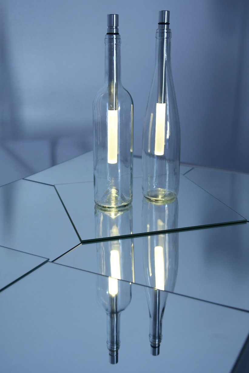 In-outdoorshop Stimmungsvolle Stablampe Stablampe Stablampe Bottlelight im 3er Set warmweiß, LED Beleuchtung von Weinflaschen, Flaschenlicht einstellb. Helligkeit, incl. Batterien im 3er Set, warmweiß 464452