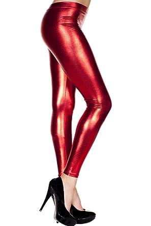 2c034e44e00326 Amazon.com: Music Legs 35110-RED Metallic Leggings44; Red: Clothing