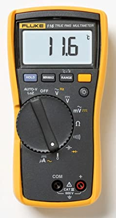 Fluke 116 HVAC Multimeter with Temperature and Microamps with a NIST-Traceable Calibration Certificate with Data