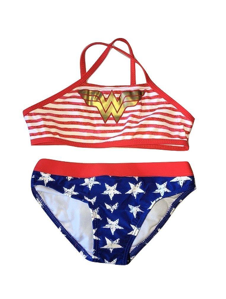 In Gear Girls Sporty Two Piece Bikini Swimsuit Wonder Woman Sizes 4 to 8 Years