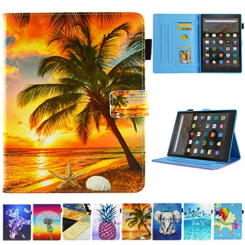 Kindle Fire HD 10 Case - JZCreater Multi-Angle Viewing Wallet Case Cover with Auto Wake/Sleep for Kindle Fire HD 10.1 Tablet (7th/5th Generation,2017/2015 Release), Sunrise