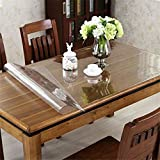 "OstepDecor 42"" Wide Waterproof PVC Protector for Table/Desk Table Pads Table Covers With Multi Size Available, Clear 42 x 64 Inches (107 x 163cm)"