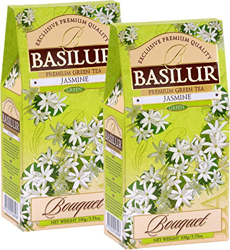 Basilur | Fragrant Jasmine Green Tea | Ultra-Premium Loose Leaf Green Tea with Jasmine Flowers | 100g / 3.52oz. per Box (Pack of 2) from Basilur