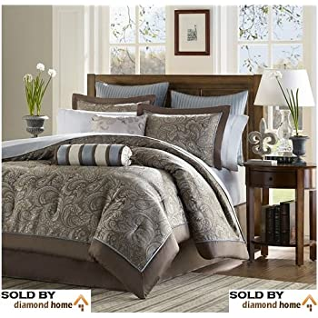 Amazon Com Luxury Blue Brown Paisley Bedding Comforter