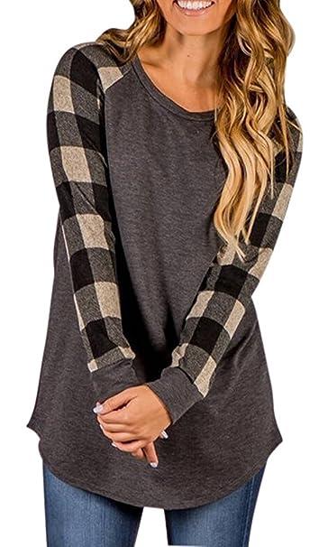1edbafb2f7a Haircloud Women s Plus Size Plaid Raglan T Shirt Blouse Tunic Sweatshirts  Tops Black 4XL
