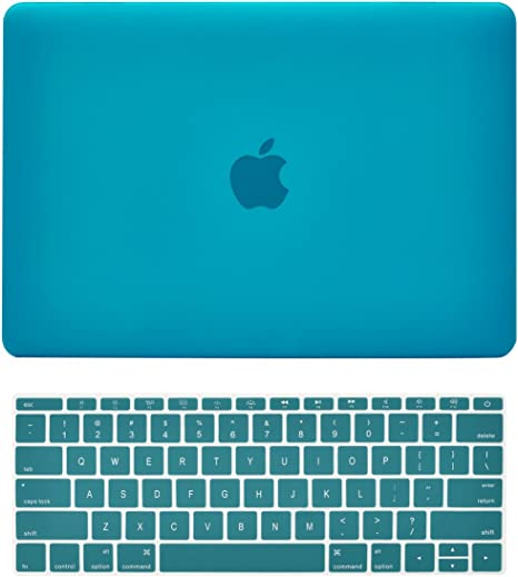 Release 2015 - Serenity Blue 2 in 1 Bundle Deal Rubberized Hard Shell Case Cover and Keyboard Cover Compatible with Apple MacBook 12 Retina Display Model A1534 TOP CASE