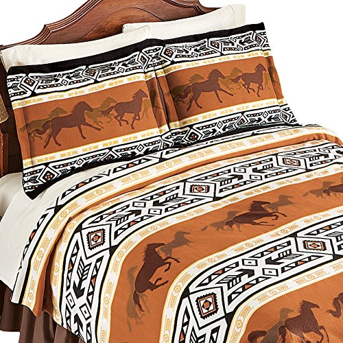 Running Horses and Southwest Aztec Native American Pillow Sh