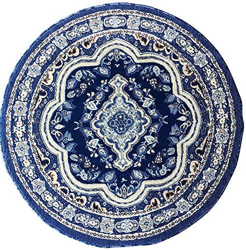 Rug Brown Oriental Round (emirates Traditional Persian Oriental Round Area Rug Dark Navy Blue Grey Brown Design 520 (4 Feet X 4 Feet))