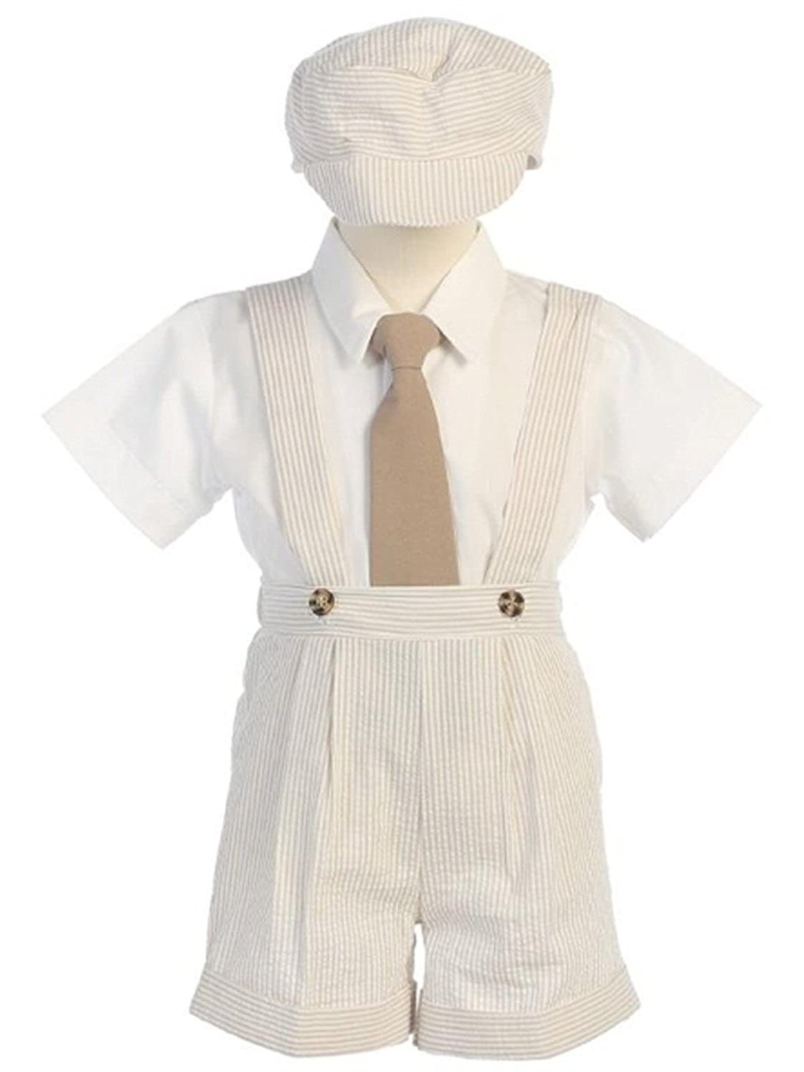 Victorian Kids Costumes & Shoes- Girls, Boys, Baby, Toddler DapperLads Lito Little Boys Khaki Seersucker 4 Pc Suspender Shorts $35.98 AT vintagedancer.com
