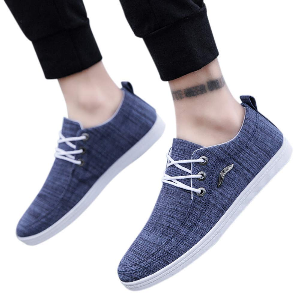 VigorY Men Canvas Low Top Sneaker Fashion Breathable Lace-Up Shoes Casual Sportshoes