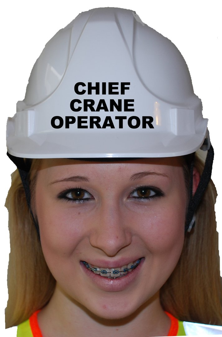 Chief Crane Operator Children, Kids Genuine Hard Hat Safety Helmet With Chin Strap One Size Adjustable Suitable for 2-12 Years White Complies With EN397 Safety Standard by Acce Products