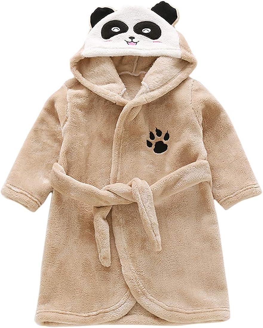 YUENA CARE Kids Robe Cute Animal Pajamas Sleepwear Plush Hooded Bathrobe for Girls Boys