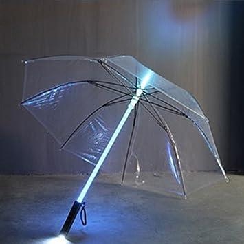 SPRINGWT Paraguas que cambia de color, luz fría y luminosa LED, paraguas brillante,