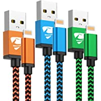 Cable iPhone [MFi Certificado] Cable Lightning 1.8M [3 Pack] Trenzado de Cargador iPhone Compatible con iPhone X 8 8 Plus 7 7 Plus 6s 6s Plus 6 6 Plus (Azul, Verde, Naranja)