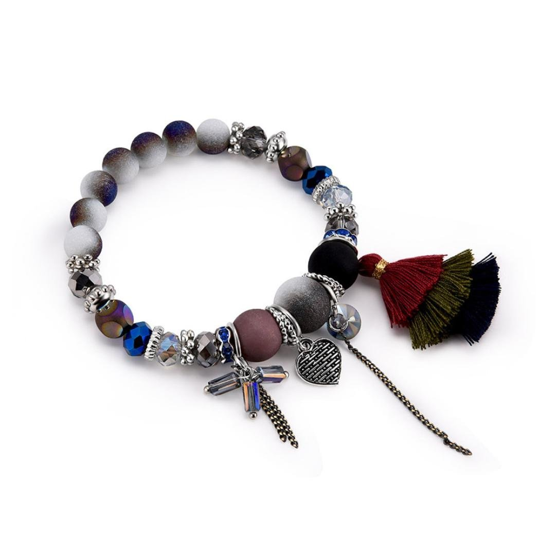 Stheanoo Fashion Bracelets Tassel Beaded Charm Bracelet Vintage Personalized Pendant Wristband for Women