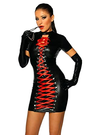 FASHION QUEEN Women s Sexy Gothic Wetlook Dress Red Ribbon Lace Up Clubwear  Stripper (One Size 7e7b0f565
