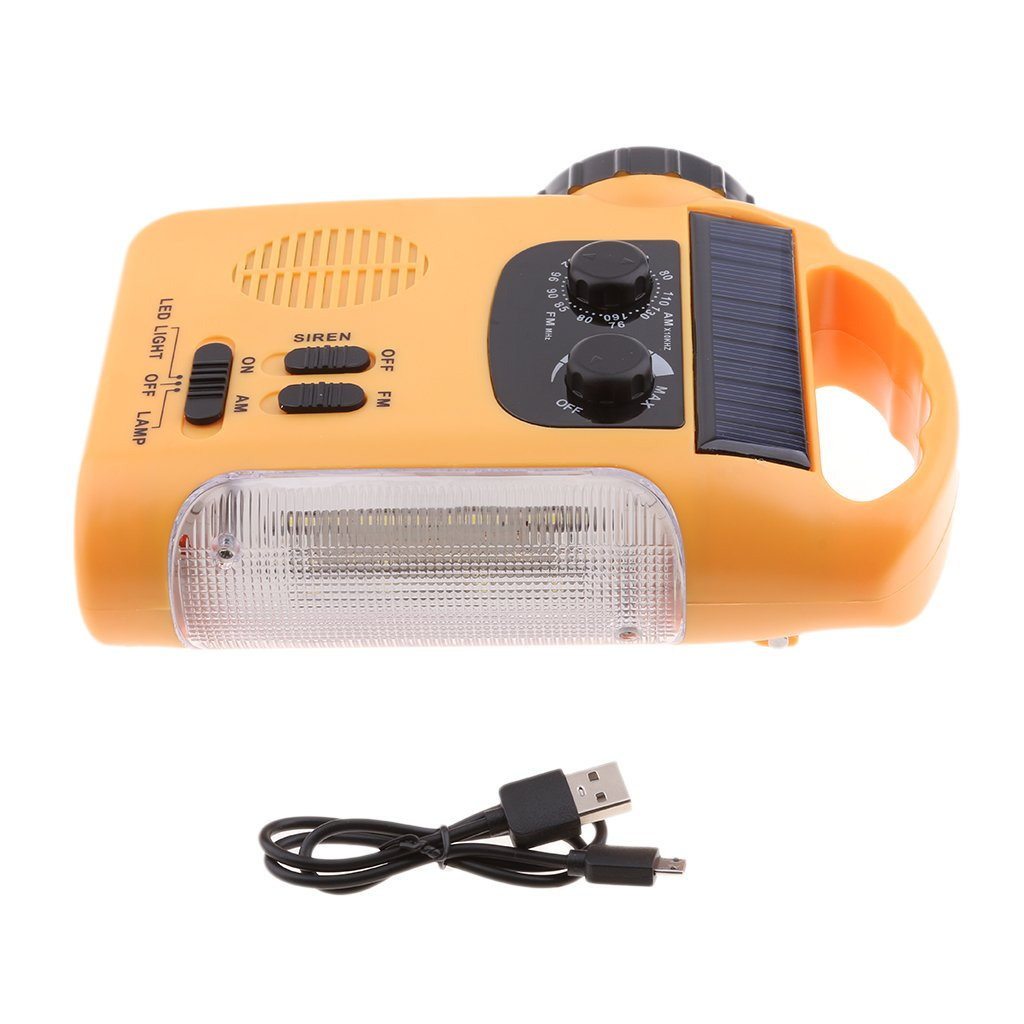MagiDeal Emergency Solar Hand Crank AM FM Radio,Flashlight, Smart Cell Phone Charger w/USB Cable