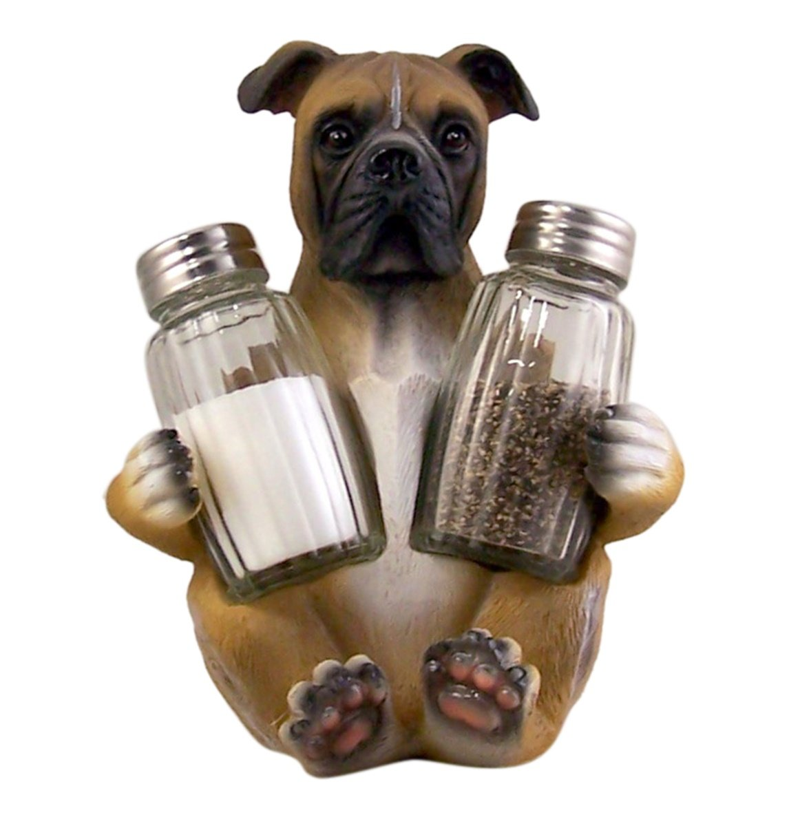 Boxer Dog Salt and Pepper Shaker Holder (Shakers Included) DWK Corporation