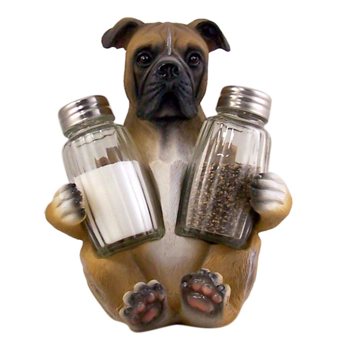 Boxer Dog Salt and Pepper Shaker Holder (Shakers Included) DWK Corporation