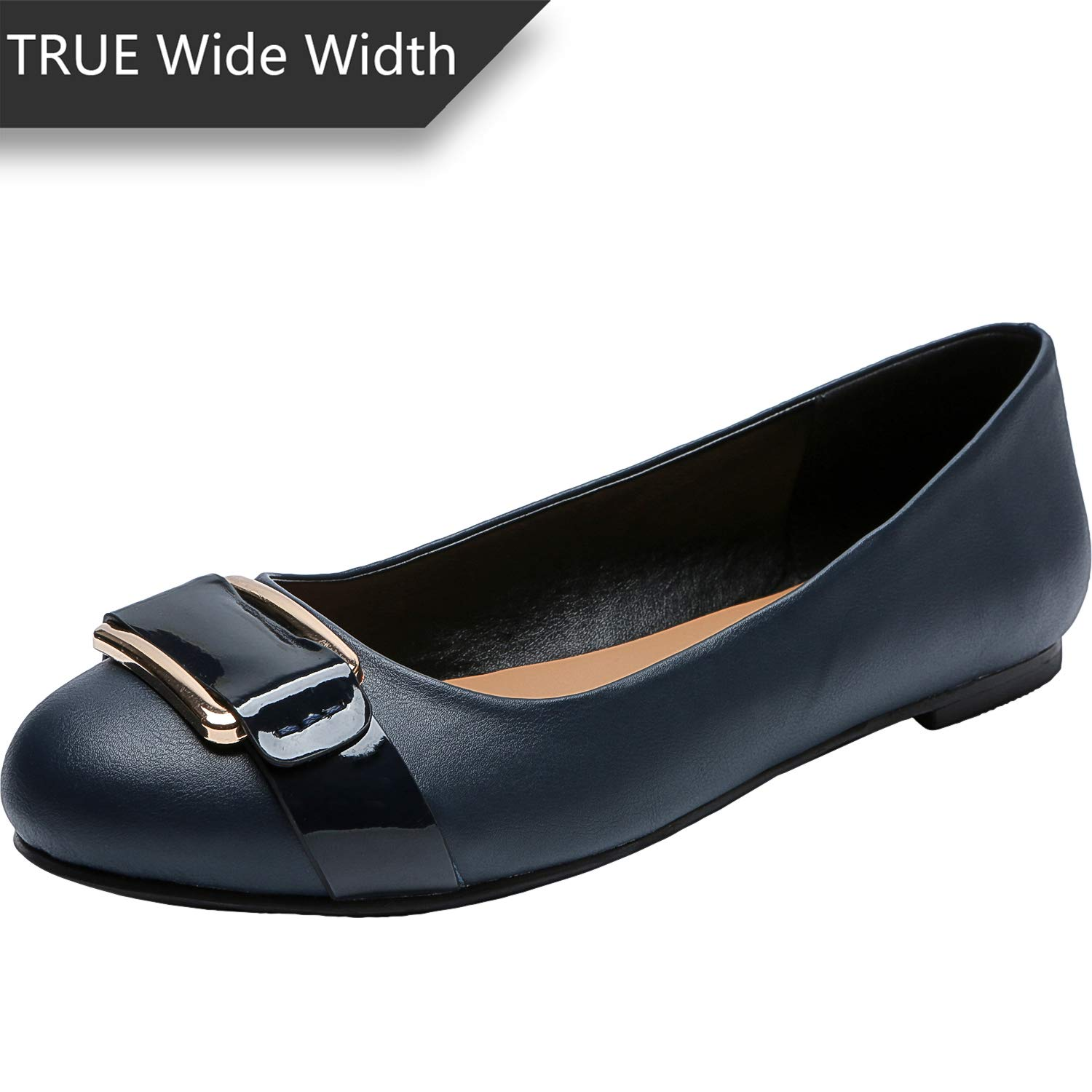 3f548095f Amazon.com | Luoika Women's Wide Width Flat Shoes - Comfortable Slip On  Round Toe Faux Leather Ballet Flats. | Sandals