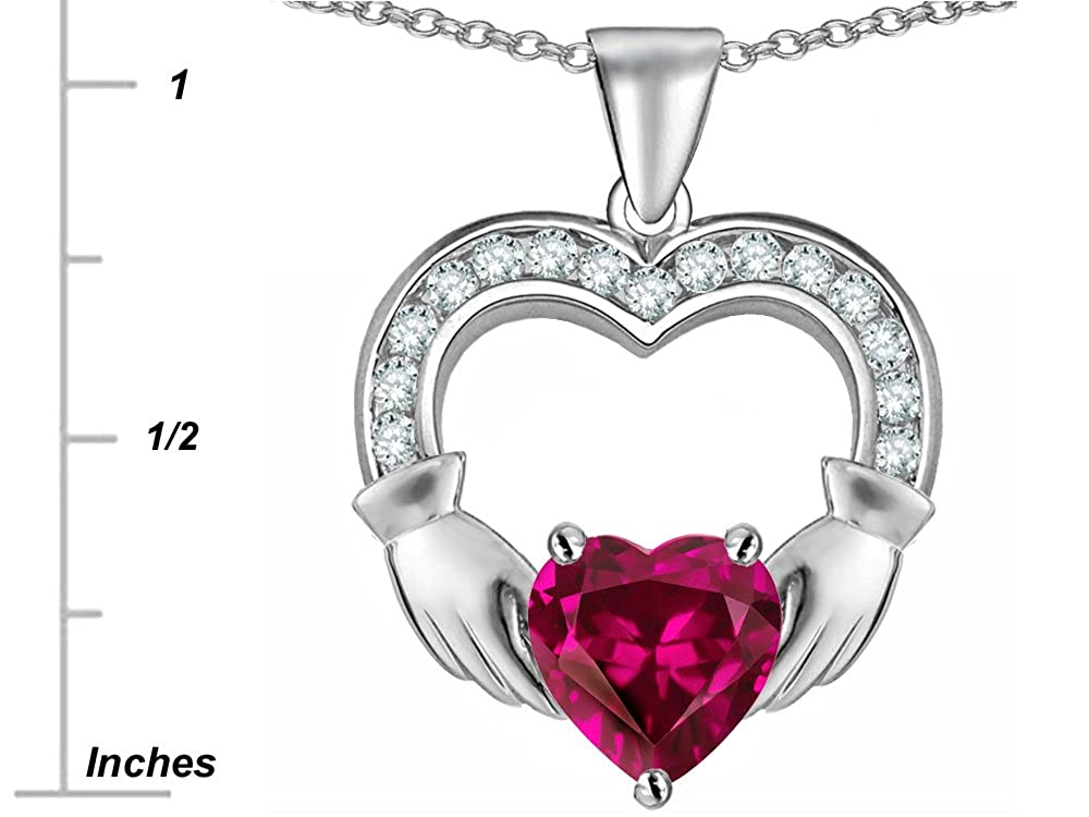 Star K Sterling Silver Hands Holding 8mm Heart 1inch Claddagh Pendant Necklace