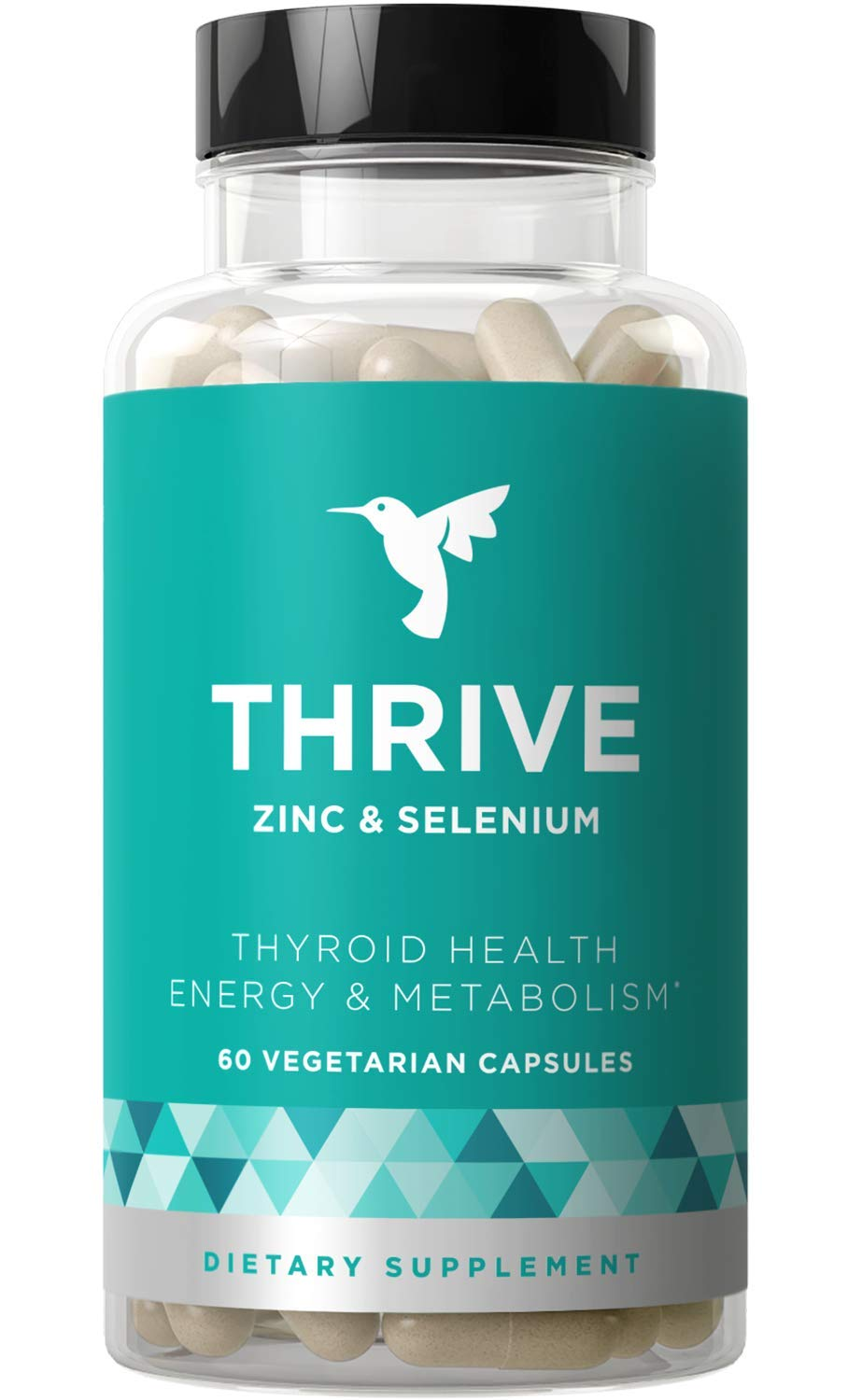 Thrive Thyroid Support & Energy Metabolism - Naturally Fight Fatigue, Balance Hormones, Promote Focused Energy - Zinc, Selenium, Iodine - 60 Vegetarian Soft Capsules by Eu Natural