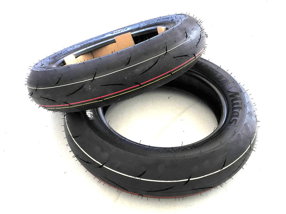 Sava Mitas Mini Roadracing Scooter Tire 100/90-12 MC35 S-Racer Racing Soft Front / Medium Rear 120/80-12