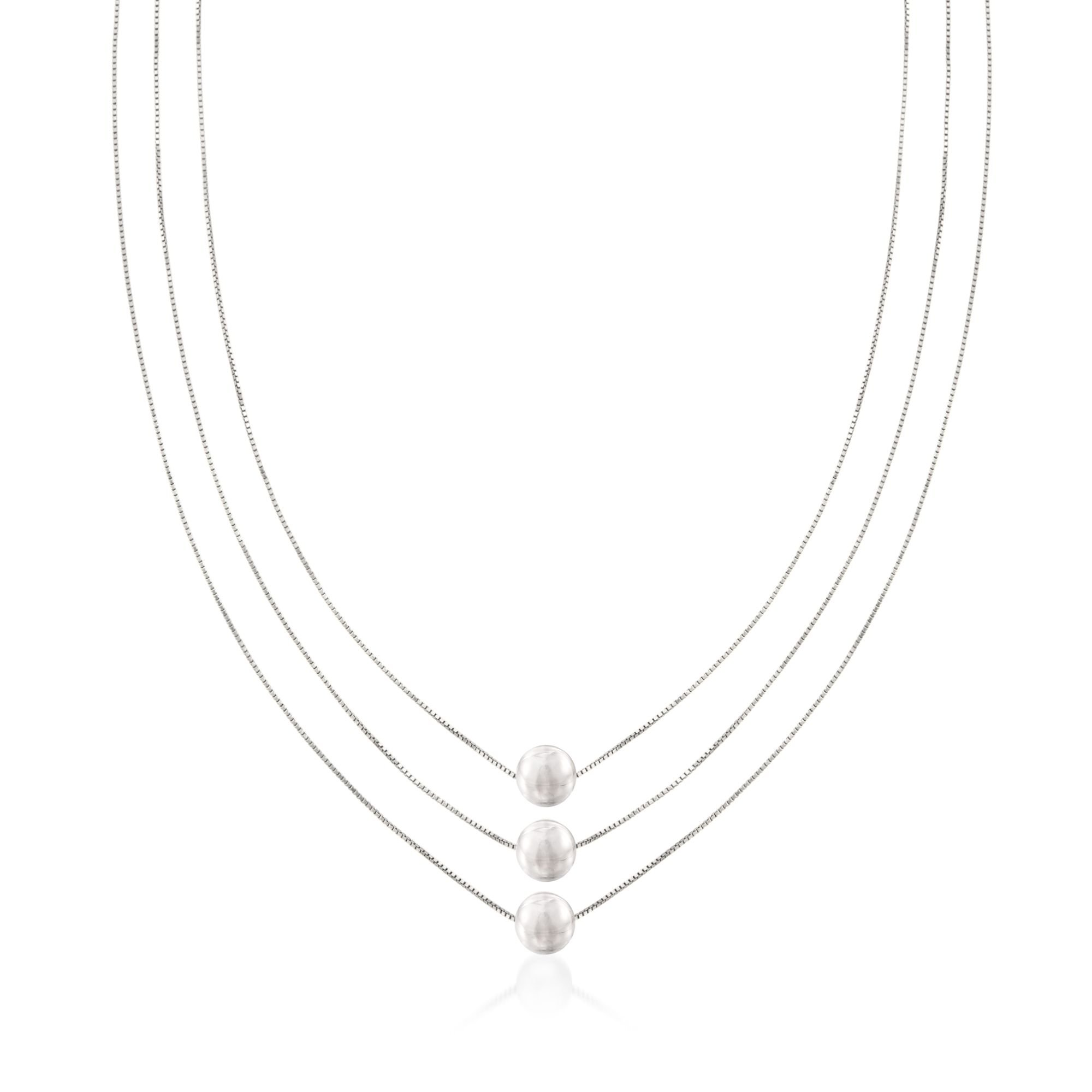 Ross-Simons Sterling Silver Three-Strand Layered Bead Necklace. 18''