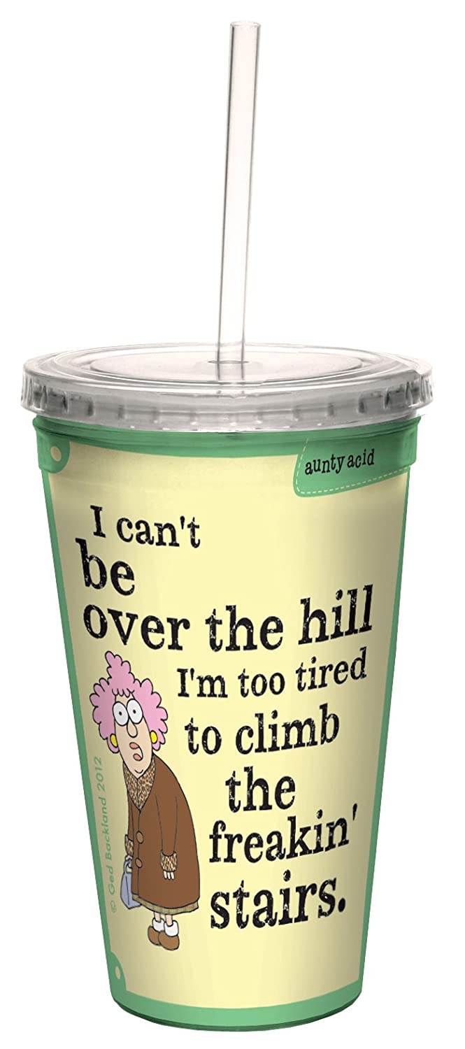 Tree-Free Greetings cc33764 Hilarious Aunty Acid Double-Walled Cool Cup with Reusable Straw, Over The Hill, 16-Ounce