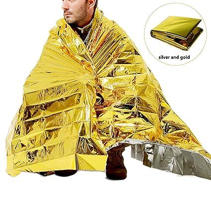 Laduup 210X130 cm Extra Grandes Rettungsfolie /Überlebensraum Manta para Marathons Camping Outdoor y Naturkatastrophe-Wandernde Kampierende Notmatte