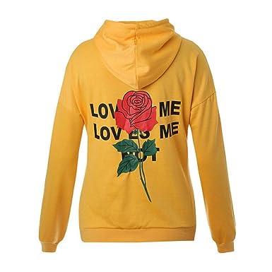 Damen Kapuzenpullover Mumuj Fashion Mädchen Love ME Letter Rose Drucken  Hoodies Frauen Tasche Freizeit Streetwear Trainingsanzug df98094982