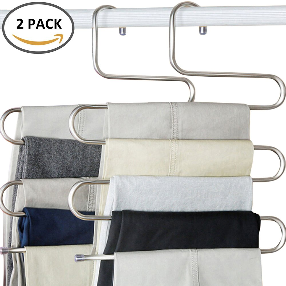 Wrightus S-Type Multi-Purpose Pants Hangers, 5 Layers Stainless Steel Trousers Rack for Clothes Pants Jeans Scarf Tie.