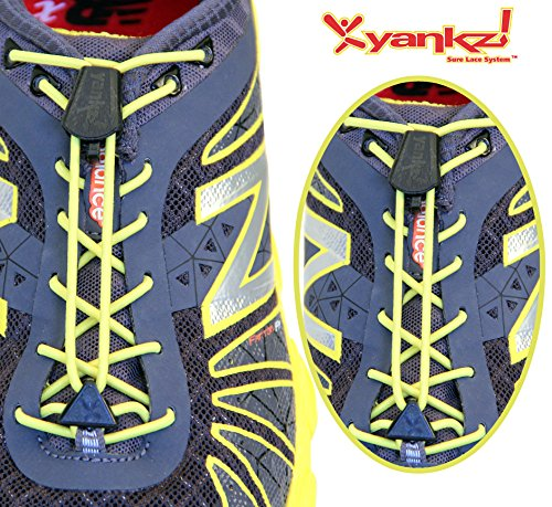 Yankz Sure Lace Round Elastic Shoe Laces, Yellow with Black, One Size