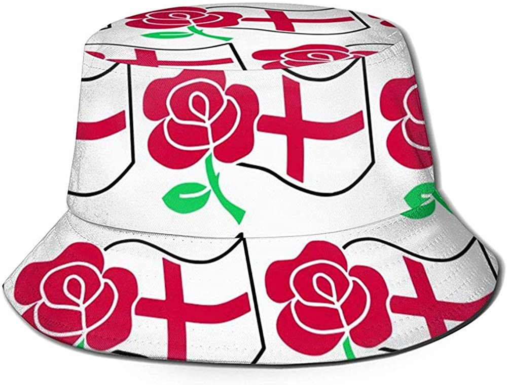 Henry Anthony Rose and St Georges Flag Bucket Hat Summer UV Sun Fisherman Cap Unisex for Travel Beach Outdoor