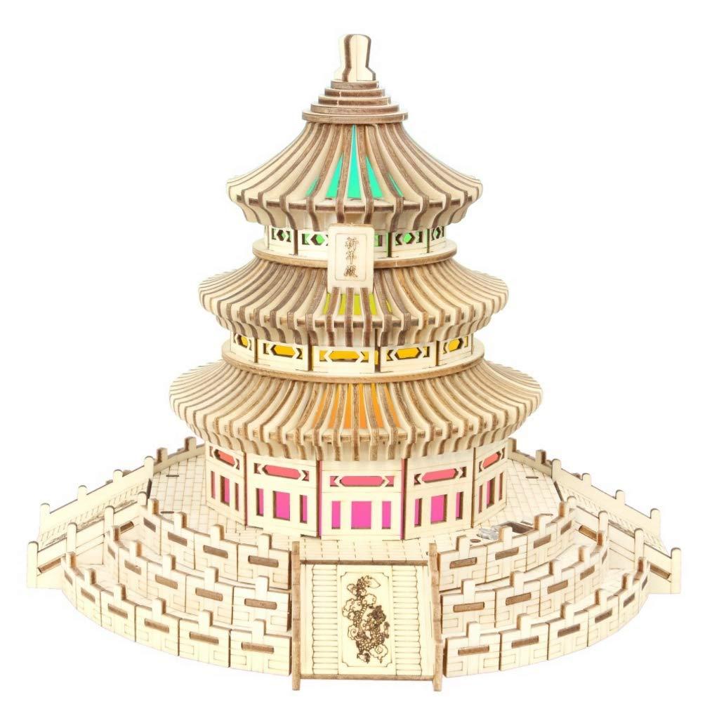 ZLD Juegue el Rompecabezas 3D, Templo del Cielo de Pekín, Luces Coloridas, Altavoces de Bluetooth, Artes de Madera, Decoraciones caseras, Montaje Manual