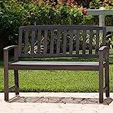 Laguna Outdoor Patio Acacia Wood Bench (Dark Grey)