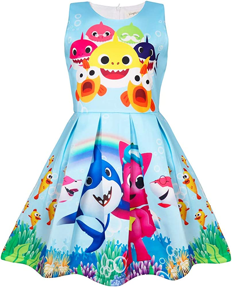 AOVCLKID Toddler Girls Baby Princess Dress up Shark Cartoon Print Party Gown Dress