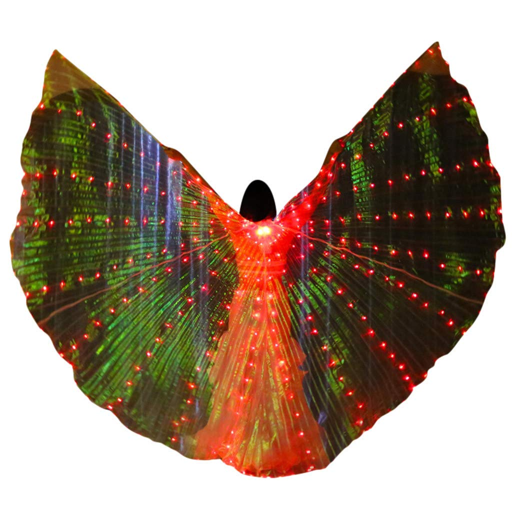 Women's Egyptian Belly Dance Costume LED Isis Angel Bifurcate Butterfly Wings Glow Light Up Belly with Flexible Sticks (Free, Red)