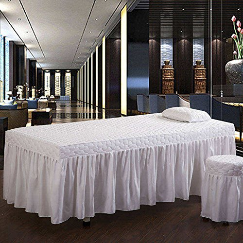Piece 12 Eyelets (YXLJYH European Style Solid Color Beauty Bed Cover Massage Table Sheet Sets Single Bed Skirt Sheet Physiotherapy Bedspreads Therapy Bed Universal with Hole -A 30x50cm(12x20inch))